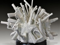 "Linda Lighton, ""Cause and Effect"" 2012, whiteware, glaze, 23 x 25 x 22.5""."