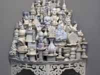 "Walter McConnell, ""A Theory of Everything: White Corner"" 2011-13, porcelain, glaze, plywood, 77 x 39 x 39""."