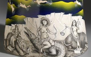 """Sergei Isupov, """"Beneath the Sky Giants"""" detail, 2015, porcelain, slip, glaze, 32 x 14 x 15""""."""