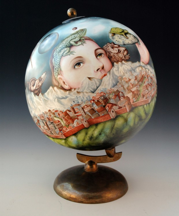 "Kurt Weiser, ""Albion"" 2014, china painted porcelain, 26.5 x 18""."