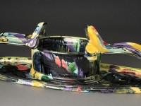 """Betty Woodman, """"Planter"""" ceramic, glaze, 27 x 5.5 x 8.5""""."""