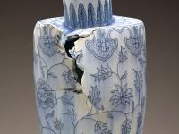 "Steven Young Lee, ""Vase with Peonies"" 2014, porcelain, cobalt inlay, 26 x 11 x 10""."