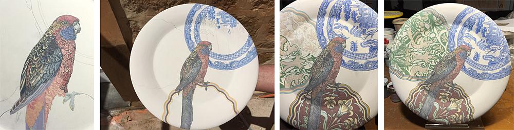 S Bowers process shots of rosella plate