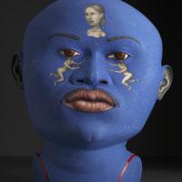 """Sergei isupov, """"Busker"""" 2009, stoneware, stain, glaze, 28 x 22.5 x 12""""."""