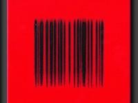 "Robert Silverman, ""Bar Code Red"", 2012, re-fired commercial porcelain tiles, 12 x 12"""