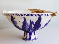 "Frances Palmer, ""Oval Footed Bowl with Trees"" 2014, porcelain, cobalt, glaze, gold luster, 13 x 6.5 x 7""."