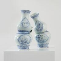"Steven Young Lee, ""Gourd Vases with Dodos"", 2018, porcelain, cobalt, pigment, glaze, 18 x 19 x 10"""