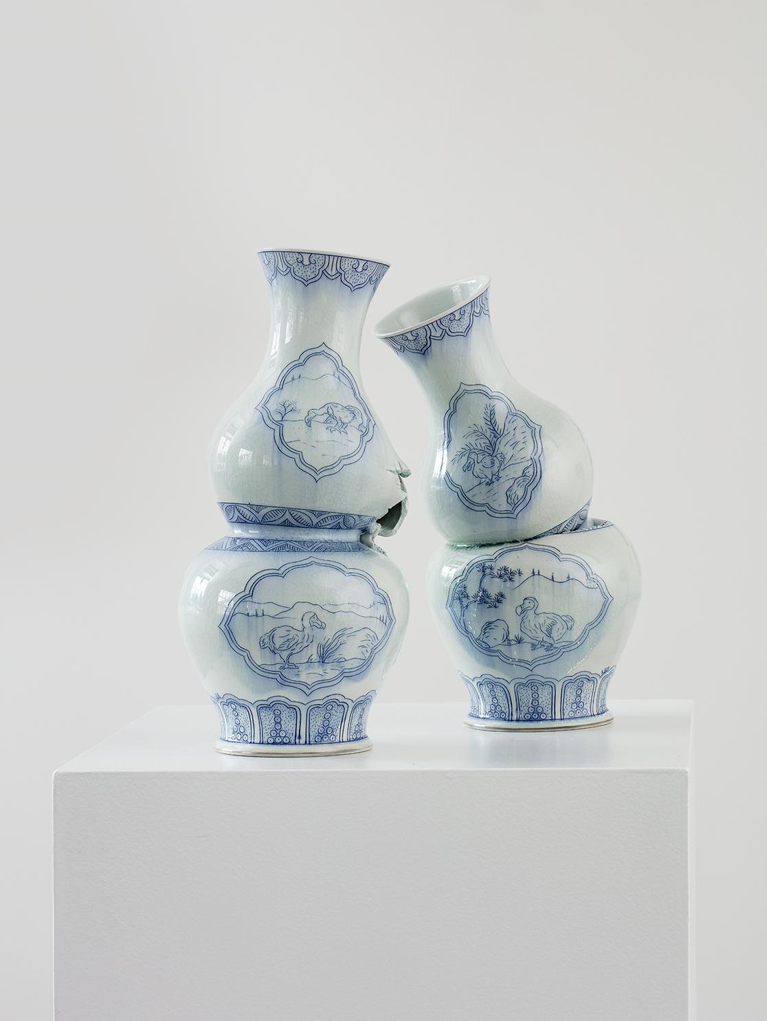 "Steven Young Lee, ""Gourd Vases with Dodos"", 2018, porcelain, cobalt pigment, glaze, 18 x 19 x 10"""