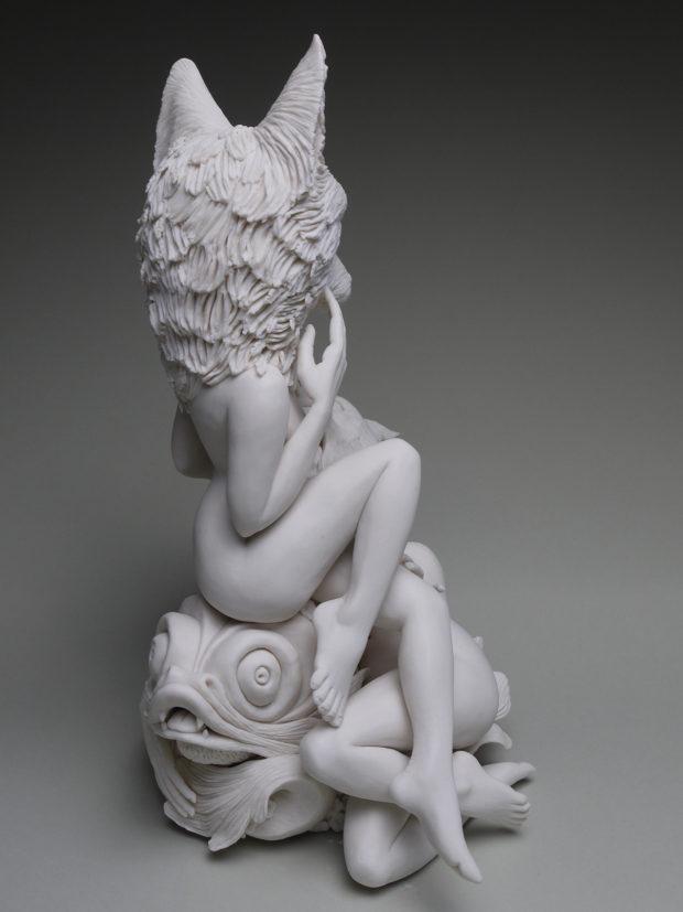 "Crystal Morey, Venus on the Waves, 2019, Hand sculpted porcelain, 14.25 x 10 x 8""."