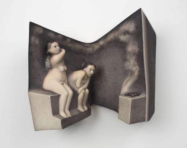 """Sergei Isupov, Bathing Day, 2015, porcelain, slip, glaze, 10 x 12 x 5""""."""