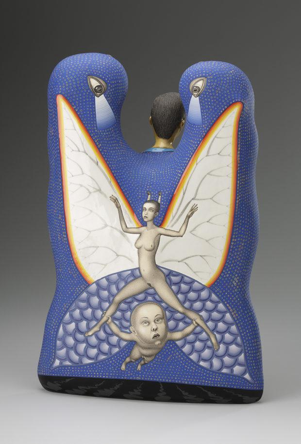 """Sergei Isupov, Free Ride, 2012, porcelain, slip, glaze, 20.5 x 14 x 6""""."""