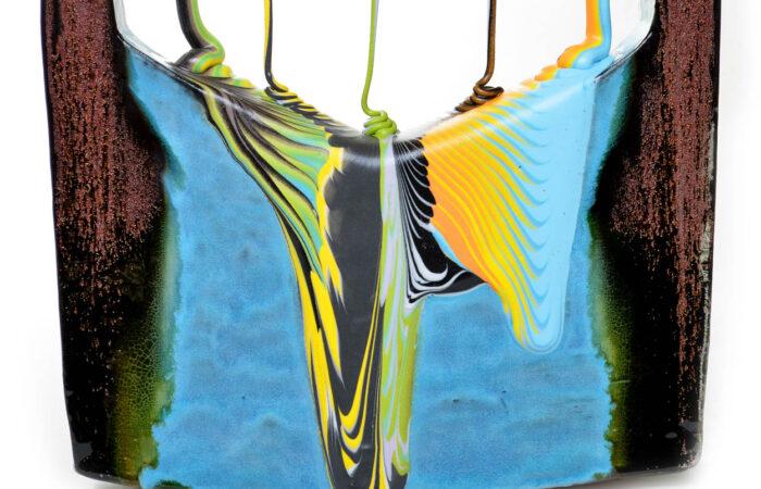 "Lauren Mabry, ""Framed Veil (Green Shade)"", 2021, earthenware, slip, glaze, 19.5 x 15.75 x 6.75""."