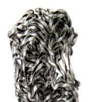 "Stine Bidstrup, 'Bifurcation Series (Object 2 - Black & White)', detail, 2017, fused and stretched glass, 19 x 6.25 x 5.5"""