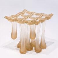 """Sydney Cash, """"Peach Pie"""", 2006, glass, steel wire, 7 x 7 x 7"""""""