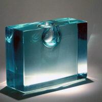 "Tom Patti, ""Compacted Bi-Planular Bronze"", 1985, glass, 4.5 x 6.5 x 2.25"""