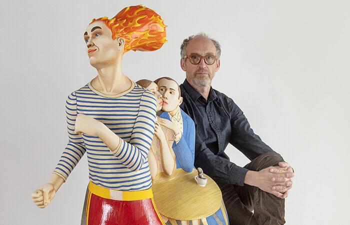 """Sergei Isupov, """"Coffee and Milk"""", 2020, porcelain, slip, glaze, 59.5 x 26 x 16""""."""