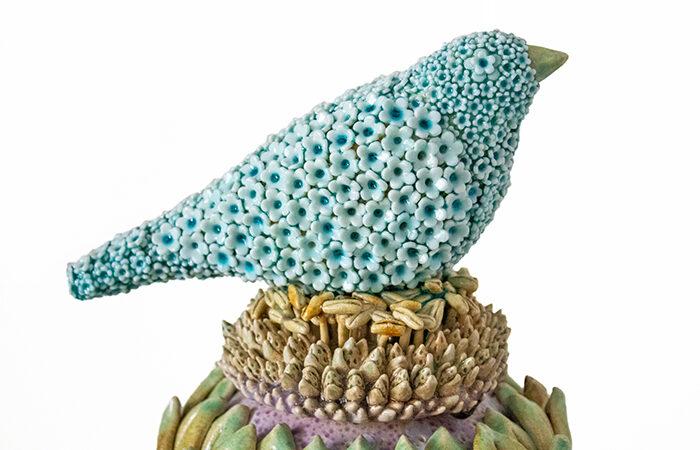 "Kate Malone, Small Lidded Flower Jar and Waddesdon Bird"", 2016"
